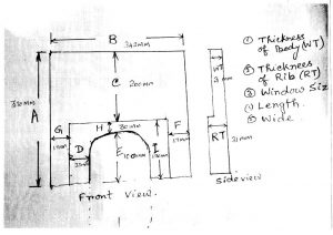 Rough Drawing Prepared by our techncician of Engine Block Broken Area
